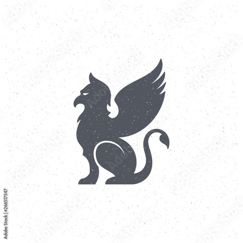 Photo Gargoyle silhouette design element in vintage style for logo or badge vector illustration