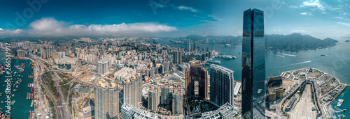 Obraz na plátne Aerial view of West Kowloon, Hong Kong