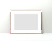 A4 Rose Gold Frame Mockup On A...