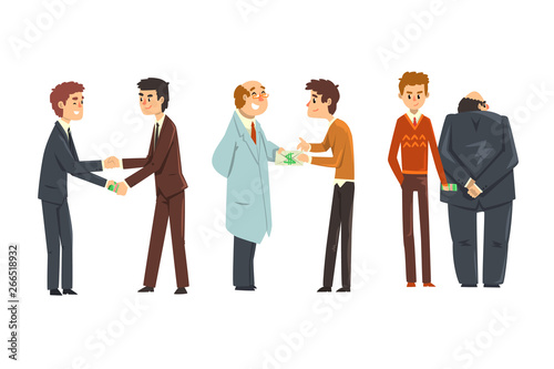 Fotografía People giving bribes set, corruption and bribery concept vector Illustration on