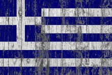 Flag Of Greece Painted On Worn Out Wooden Texture Background.