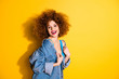 Leinwandbild Motiv Portrait of her she nice-looking charming attractive cheerful cheery positive glamorous girl isolated over bright vivid shine yellow background