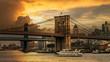 Sunset behind the Brooklyn Bridge in NYC USA