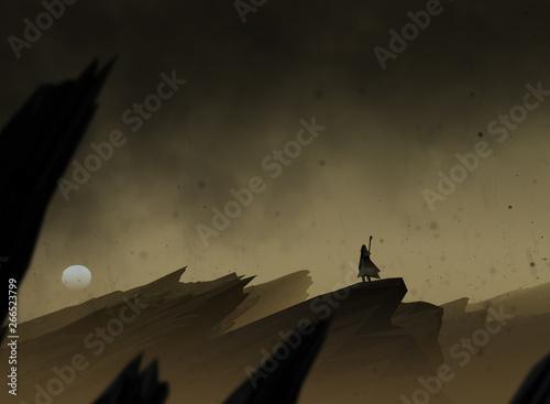 Fotografia, Obraz epic journey, traveler in surreal landscape with ash falling from the dark sky,