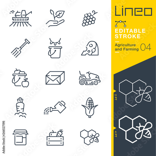 Lineo Editable Stroke - Agriculture and Farming line icons Fotobehang