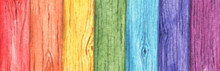 Rainbow Colored Painted On Old Wood Background. Wood Planks With Seven Colors. Red, Orange, Yellow, Green, Blue, Indigo And Purple. Watercolor Illustration.