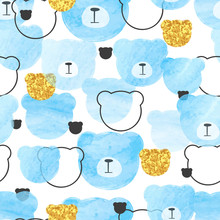 Seamless Blue Pattern With Abstract Watercolor Bears.