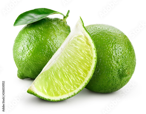 Lime. Lime with half and leaves isolate on white.