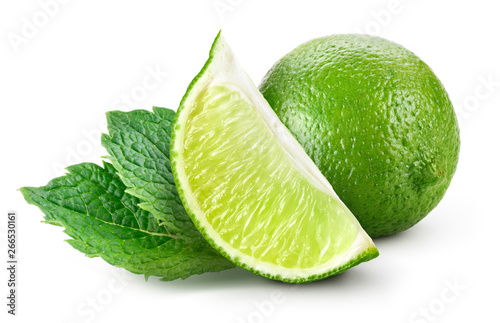 Obraz Lime isolated. Lime slice with mint leaves isolate on white. - fototapety do salonu