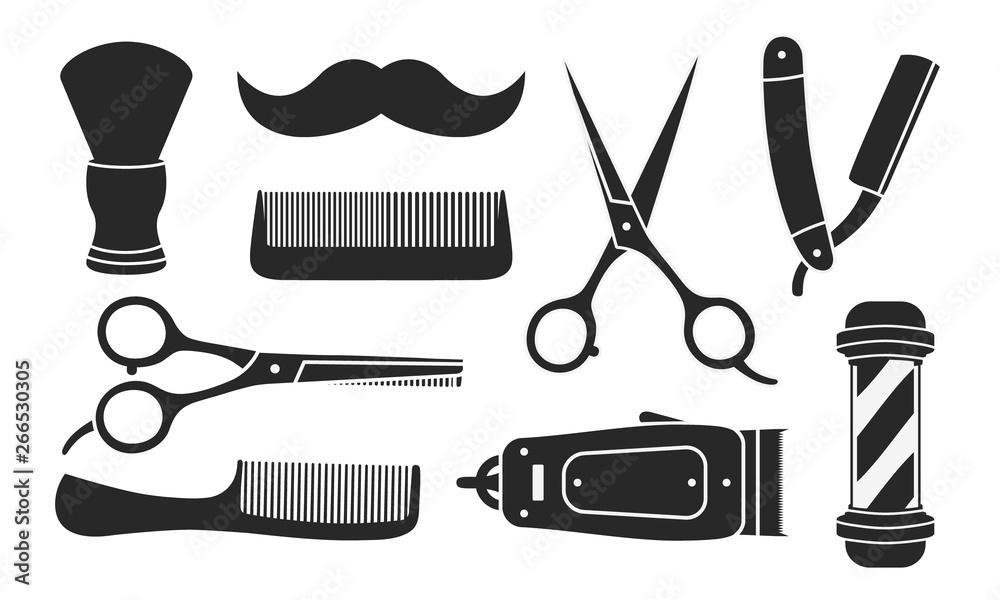 Fototapeta Set of 9 barbershop icons isolated on white background. 9 Barbershop and haircuts salon design elements. Vector illustration