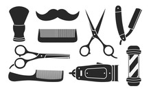 Set Of 9 Barbershop Icons Isol...