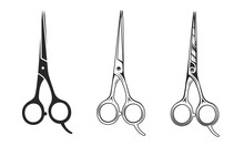 Vector Barber Scissors Isolated On White Background. Hair Scissors Icons In 3 Other Styles.