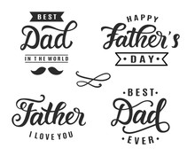 Happy Father's Day Greeting Hand Lettering Badges