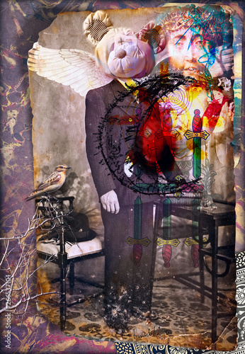 Fotobehang Imagination Scrapbooks and macabre and surreal collages with drawings and old vintage photographs