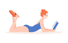 A Woman In A Swimsuit Is Lying...