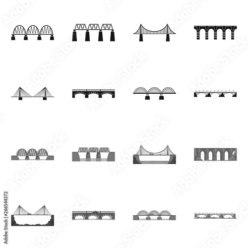 Isolated object of connection and design symbol. Set of connection and side stock vector illustration.