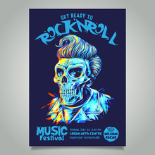 Rock N Roll Poster Template With Pompadour Hairstyle Skull Head Illustration.