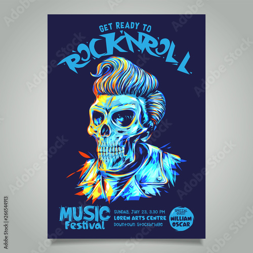 Obraz na plátne Rock n roll poster template with pompadour hairstyle skull head illustration