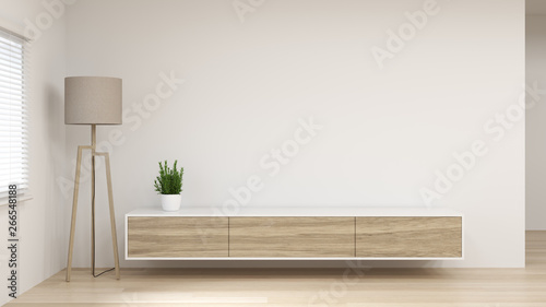 Fotografía modern Tv white wood cabinet shelf in empty room interior background  3d renderi