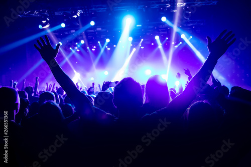 Silhouette of man with raised hands on music concert - 266551360