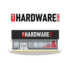 Vector Illustration Of Hardware Store Building. Hardware Logo. Commercial Business Building