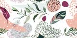 streszczenie botaniczny wzór z egzotycznych liści, ręcznie rysowane tła. wzór. Płytka z tropikalnym liściem - 266555957
