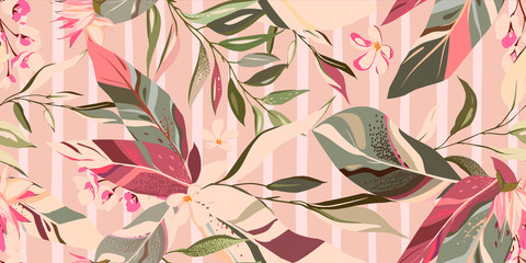 Fototapeta Abstrakcja botanic seamless pattern with exotic flowers and leaves, hand drawn background. floral pattern. Tile with tropical leaf
