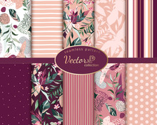 Set Botanic And Abstract Seamless Pattern With Exotic Flowers And Leaves, Hand Drawn Background. Collection Floral Pattern. Tile With Tropical Leaf