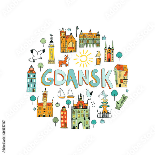 Hand drawn abstract design of Gdansk. Fototapet