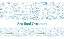 Ornament With Sea Food. Sea Fish And Mollusks. Fresh Sea Fish With Ingredients. Vector Seafood Ornament. Ornament With Fish. Different Sea Inhabitants. Vector Graphics To Design
