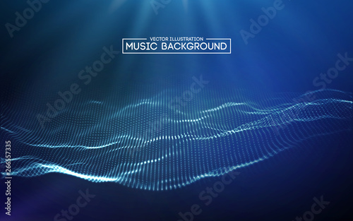 Wall Murals Abstract wave Music abstract background blue. Equalizer for music, showing sound waves with music waves, music background equalizer vector concept.