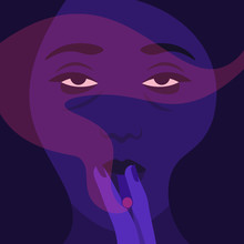 A Woman Holds A Cigarette In Her Hands And Smokes. The Girl's Face In The Dark. Addiction. Vector Flat Illustration