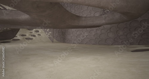 In de dag Route 66 Empty dark abstract brown concrete room smooth interior. Architectural background. 3D illustration and rendering