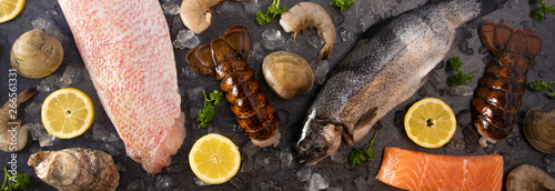Photo Collage of Various Seafood Items From a Fishmonger or Fish Market