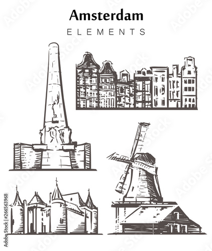 Set of hand-drawn Amsterdam buildings elements sketch vector illustration.