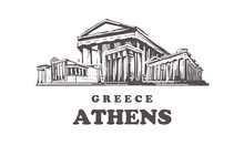 Athens Sketch Skyline. Greece, Athens Hand Drawn Vector Illustration.