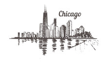 Waterfront Chicago Drawn Sketch. Chicago Skyline Isolated