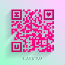 Smartphone Readable QR Code I Love You Design