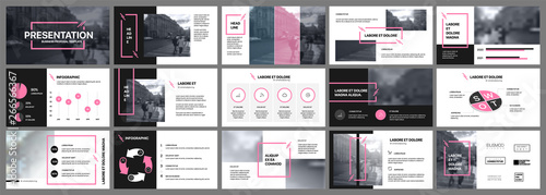 Fototapeta Presentation template. Pink elements for slide presentations on a white background. Use also as a flyer, brochure, corporate report, marketing, advertising, annual report, banner. obraz