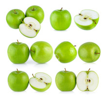 Set Of Green Apple On White Background