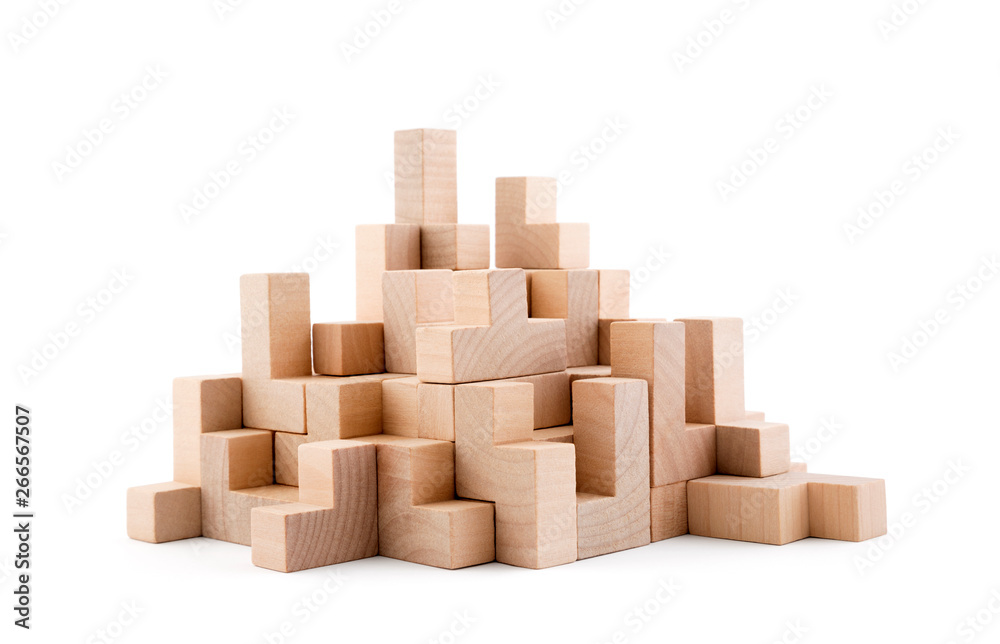 Fototapeta Wooden blocks isolated on white background with clipping path