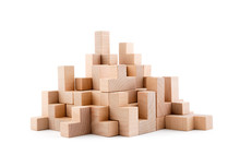 Wooden Blocks Isolated On Whit...