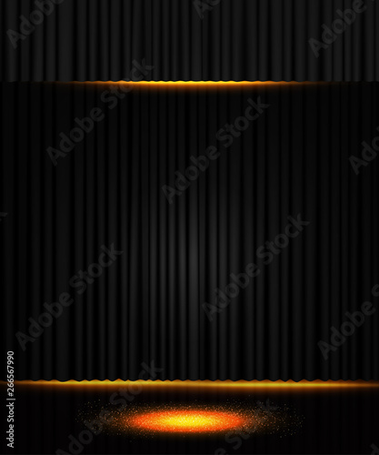 Stampa su Tela  Background with black curtain