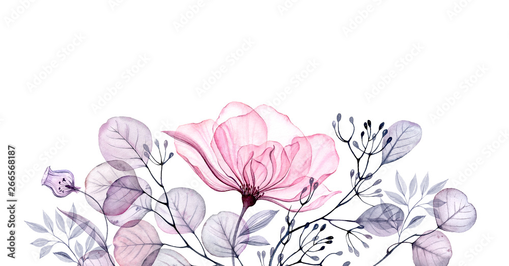 Fototapety, obrazy: Watercolor Transparent floral arrangement of roses buds leaves branches in pastel pink, grey, blue, violet, purple vintage ornament bouquet corner, x-ray, wedding design, stationery print, frame