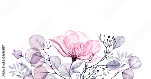 Naklejki na kafelki watercolor-transparent-floral-arrangement-of-roses-buds-leaves-branches-in-pastel-pink-grey-blue-violet-purple-vintage-ornament-bouquet-corner-x-ray-wedding-design-stationery-print-frame