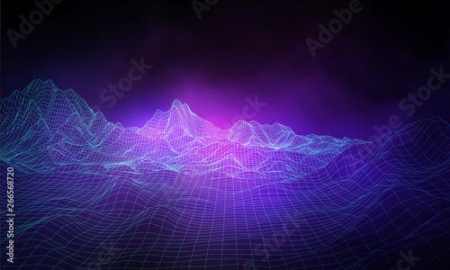 3D landscape Background. Purple Gradient Abstract Vector Illustration.Computer Art Design Template. Landscape with Mountain Peaks - 266568720