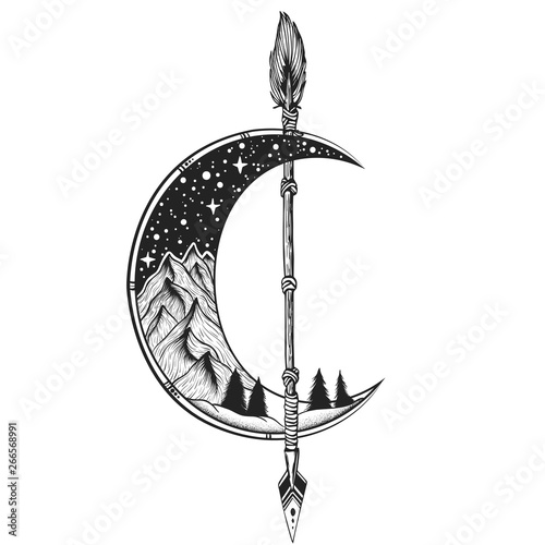 Fotobehang Boho Stijl Moon, arrow tattoo Vector illustration. Dot work