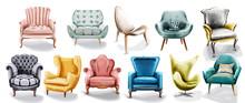 Vintage Retro Armchair Set Col...