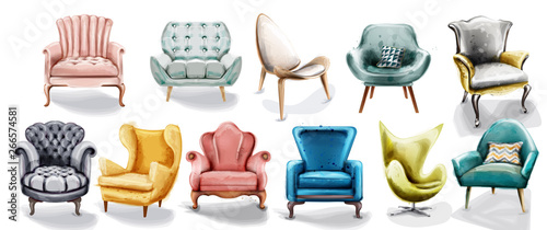 Fotografie, Obraz  Vintage retro armchair set collection Vector watercolor