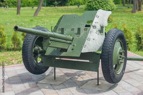 Photo  Anapa, Russia - may 5, 2019: Soviet anti-tank gun 45 caliber